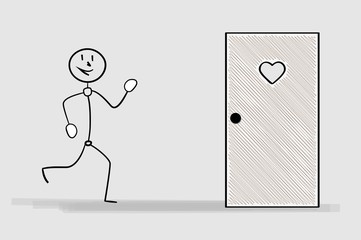 running man and door with heart