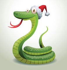 Vector Santa snake curled up. Cartoon image of Santa-snake green color in the red hat curled up on a light background.