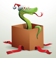 Vector Santa snake sits in a gift box. Cartoon image of Santa-snake green color in the red hat sits in a gift box on a light background.