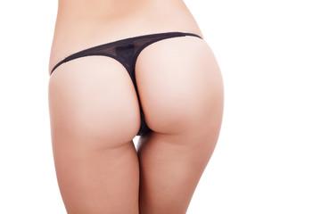 Sexy butt in bikini underwear isolated over white background