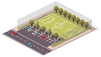 Vector Isometric Soccer/Football Pitch