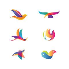 Colorful Six Vector Birds V.1