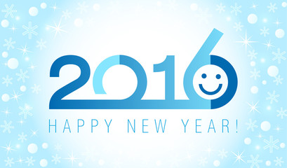 2016 classic logo. The plain blue card of 2016 New Year.