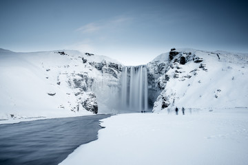 Skogafoss waterfall in Iceland during winter