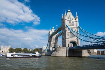 Tower Bridge in sunny day, London, England