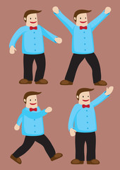 Happy Man with Red Bow Tie Vector Illustration