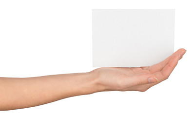 Womans hand with horizontal empty card
