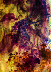 Colorful ink dissolved in water