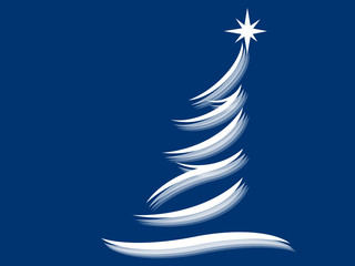 Symbol of a fir tree on a blue background