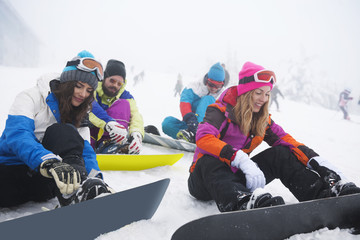 Start season on snowboard with your friends