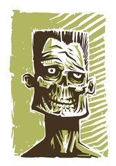 Vector zombie face green. Image of the face zombie in a green tone on a white background. It looks like a portrait.
