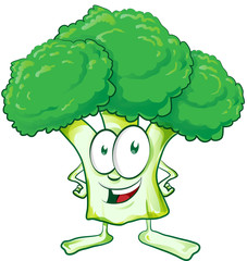 fun  broccoli cartoon on white background..
