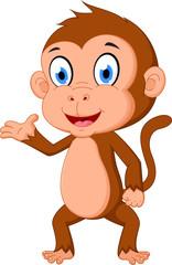 Monkey cartoon presenting