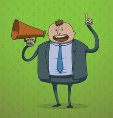 Vector funny businessman with a megaphone. Cartoon image of a funny thick businessman in a gray suit, light shirt and blue tie with brown megaphone in his hand on a green background.