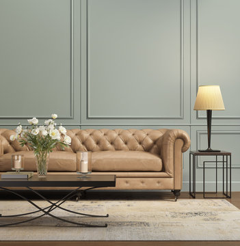 Contemporary elegant chic living room with lether sofa