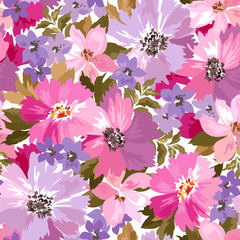 Vector pattern with flowers and plants. Fashion floral illustration.Seamless pattern.