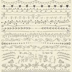 Set of hand drawn lines border and elegant design elements. Illustration vector.
