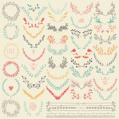 Big collection of hand drawn floral graphic design elements and lines border in retro style.