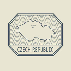 Stamp with the name and map of Czech Republic
