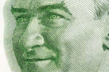 Close up to Mustafa Kemal Atatürk portrait on twenty liras bill