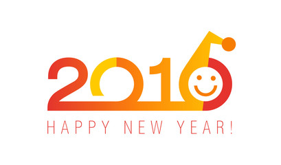 2016 classic logo in the shades of red. The plain neat card of 2016 New Year with Santa's smiling face.