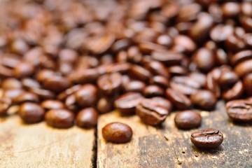 Coffee on grunge wooden background