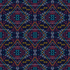 Vector grunge seamless decorative ethnic pattern. American indian motifs. Background with aztec tribal ornament.