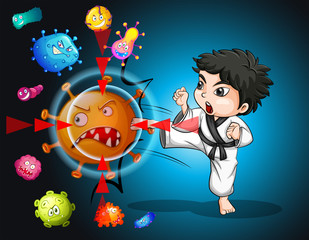 Boy in karate suit kicking bacteria