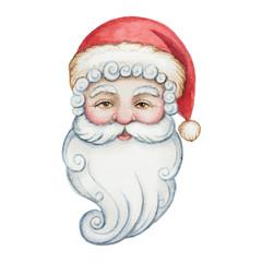Watercolor head of Santa Claus.
