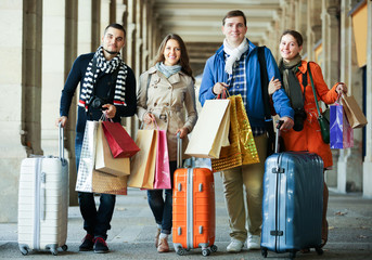 Young adults in shopping tour