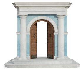 Classic portal with open door