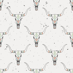 Vector grunge seamless pattern with bull skull and ethnic ornament
