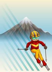 Man playing ski downhills