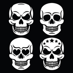 Halloween human skull white design - death, Day of the Dead