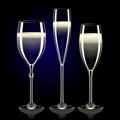 Set of transparent champagne glasses with sparkles on black back