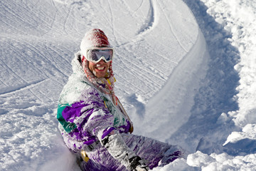 Awesome snowboarder is having fun in the backcountry powder of Les Portes du Soleil in France