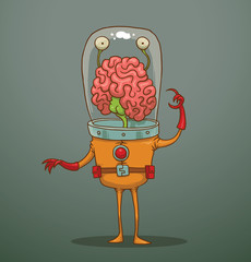 Vector funny alien with big brains. Cartoon image of a funny alien green color with two eyes, two arms and two legs big brains dressed in an orange spacesuit on a gray background.