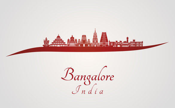 Bangalore skyline in red