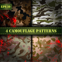 Set of 4 seamless camouflage pattern vector, EPS 10. Military background. Part 2