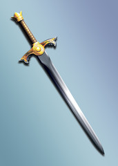 sword decorated with gold with the image of the sun.