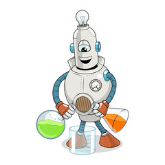 Vector cartoon robot science experiment