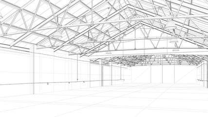 CAD Modell einer großen Lagerhalle