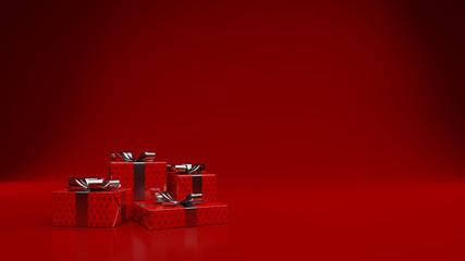Vier rote Geschenke zu Weihnachten