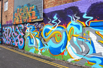 Foto op Canvas Graffiti Graffiti Street in Brighton, England