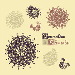 Set Hand drawing zentangle elements