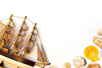 Ship model isolated on white background