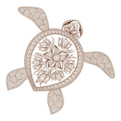 Decorative graphic turtle, tattoo style, tribal totem animal, ve