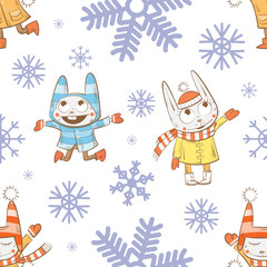 Vector winter seamless pattern with cartoon rabbits  and snowflakes on a white  background.
