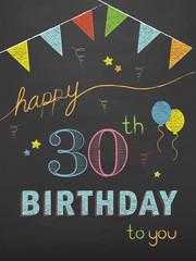HAPPY 30th BIRTHDAY Vector Chalkboard Card