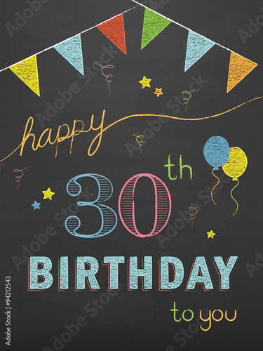 HAPPY 30th BIRTHDAY Vector Chalkboard Card